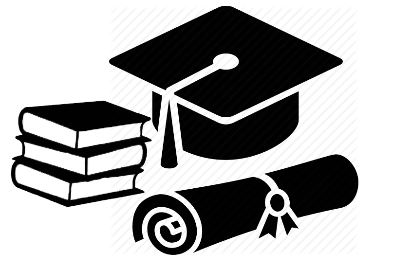 Books, Scroll and Mortarboard hat, to show the page will teach them how to code